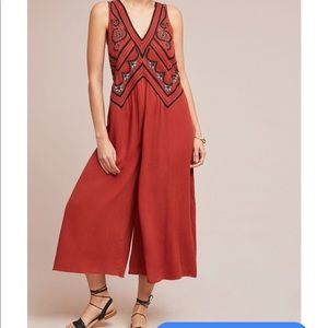 Anthropologie Maeve desert orange jumpsuit